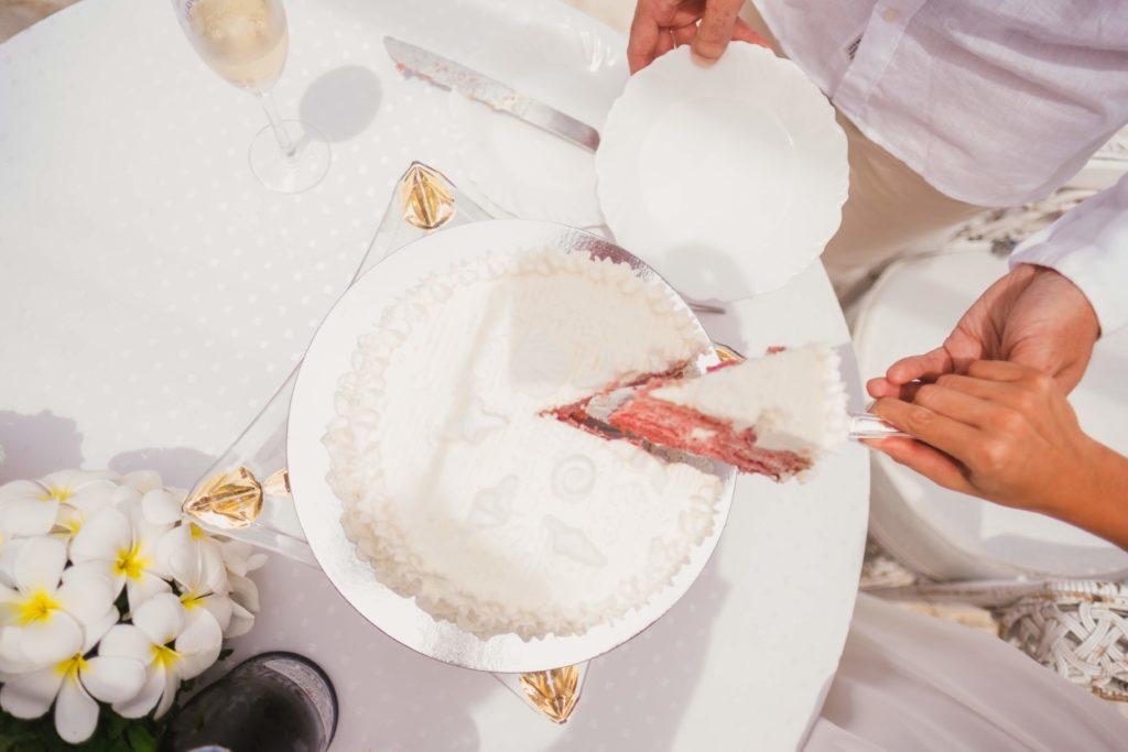 Hochzeit auf den Seychellen Kuchen